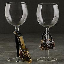 Collectible Leopard Stiletto and Handbag Wine Glass Set