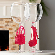 Collectible Pink Stiletto and Handbag Wine Glasses Set