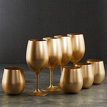 Gala Holiday Gold Stem and Tumbler Acrylic Glasses (Set of 8)