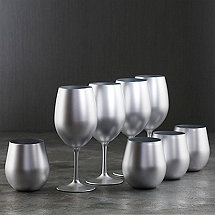 Gala Holiday Silver Stem and Tumbler Acrylic Glasses (Set of 8)