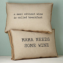 Wine-Themed Accent Pillows Mama and Breakfast (Set of 2)