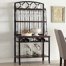 Wine and Stem Bakers Rack Side Board