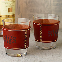 Whiskey Glasses with Monogrammed Leather Wrap (Set of 2)