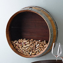 Reclaimed Wine Barrel Head Cork Collectors Display