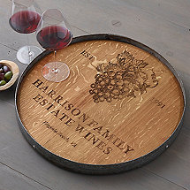 Grapevine Engraved Barrel Head Lazy Susan