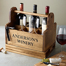 Personalized Wine Tasting Carrier with 6 Fusion Table Wine Glasses