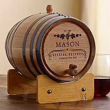Grapevine Design Personalized Handcrafted American Oak Barrel