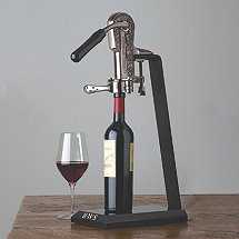 Legacy Corkscrew with Monogrammed Black Marble Stand and Handle (Pewter)