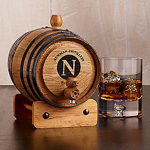 Personalized Handcrafted American Oak Barrel with Single Initial