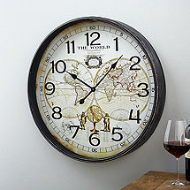 Oversized World Map Clock