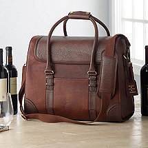 6-Bottle Leather Weekender Wine Bag with Monogrammed Hang Tag