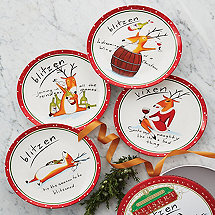 Blitzen & Vixen Appetizer/Dessert Plates (Set of 4)