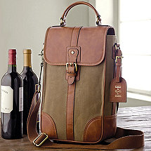 2-Bottle Waxed Canvas Wine Bag