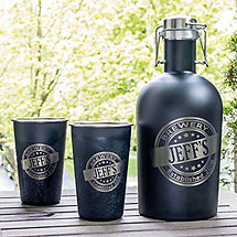 Personalized Black Stainless Steel Growler and Pint Glasses Set