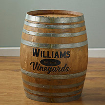 Personalized Finished Full Wine Barrel (Chuck Noon Font)
