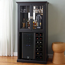 Firenze Wine and Spirits Armoire Bar with Free 32 Bottle Touchscreen Wine Refrigerator (Nero)