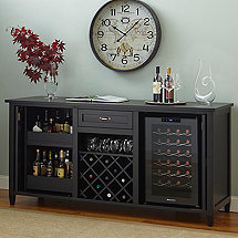 Firenze Wine and Spirits Credenza with Free 28 Bottle Touchscreen Wine Refrigerator (Nero)