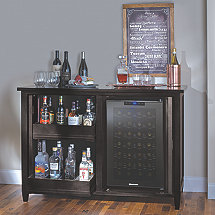 Firenze Mezzo Wine and Spirits Credenza with Free 28 Bottle Touchscreen Wine Refrigerator (Nero)
