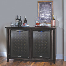 Firenze Mezzo Wine and Sprits Credenza with Two 28 Bottle Touchscreen Wine Refrigerator (Nero)