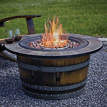 Reclaimed Wine Barrel Fire Pit with Slate Top