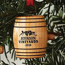 Personalized Mini Wine Barrel Ornament 2016