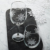 Etched Snowflake Glasses & Tumblers Set (Set of 4)