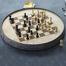 Reclaimed Barrel Hoop Chess Set with Monogrammed Storage Box