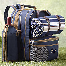 Wine Picnic Backpack Set for Four (Blue)