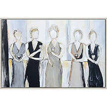 'Tasting Party' Hand-Painted Framed Canvas Art