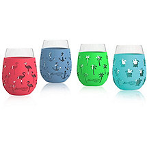Assorted Silicone Wrapped Summer Glasses (Set of 4)
