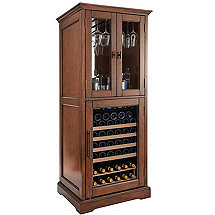 Siena Wine Cellar & Bar with Glass Door Cabinet (Walnut)
