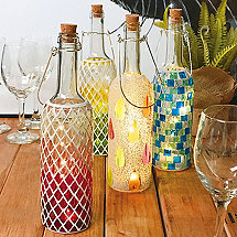 Wine Bottle Mosaics (Set of 4)