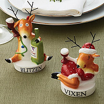 Blitzen and Vixen Salt & Pepper Shaker Set