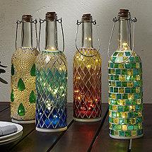 Wine Bottle Mosaic Lanterns (Set of 4)