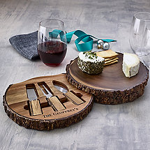 Personalized Live Edge Cheeseboard With Spreaders