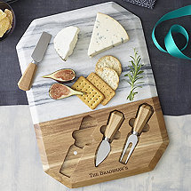 Geo Marble And Wood Cheeseboard With Spreaders