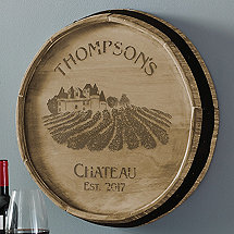Personalized Chateau Quarter Barrel Head Sign