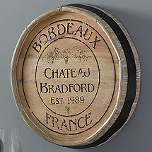 Personalized Bordeaux Quarter Barrel Head Sign