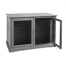 Siena Mezzo Wine Credenza (Antique Gray) with Two Wine Refrigerators