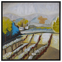 'Winery View' Hand-Painted Framed Canvas Art