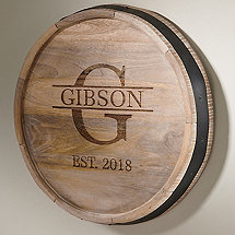 Personalized Quarter Barrel Head Sign With  Name, Single Initial & Year