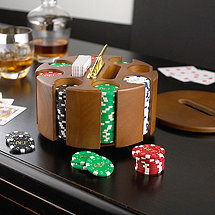 Personalized Poker Chips with Wooden Carousel