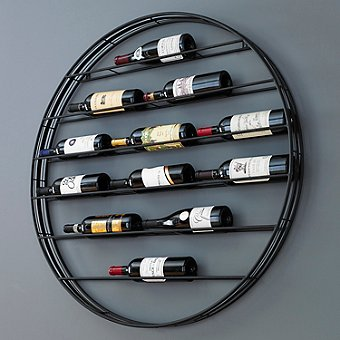 12 Bottle Label View Wall Wine Rack | Wrought-Iron Frame With Gunmetal Finish