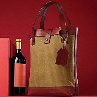 2-Bottle Canvas Leather Wine Tote