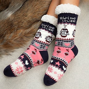 """Eat, Sleep, Wine, Repeat"" Sherpa Slipper Socks"