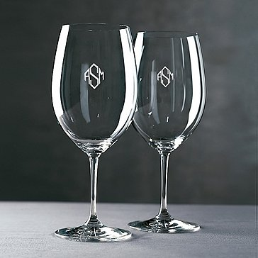 Monogrammed Riedel Vinum Cabernet Wine Glasses (Diamond Block) (Set of 2)