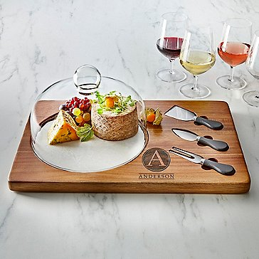 White Marble and Solid Acacia Wood Cheese Board with Glass Dome & 3 Cheese Knives (6 Piece Set)