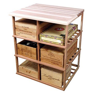 Sonoma Designer Rack - Double Deep Wood Case w/Table Top (Redwood Natural)