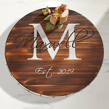 Personalized Wine Barrel Lazy Susan with Script Name, Single Initial, & Year