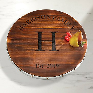 Personalized Wine Barrel Lazy Susan With Family Name & Single Initial